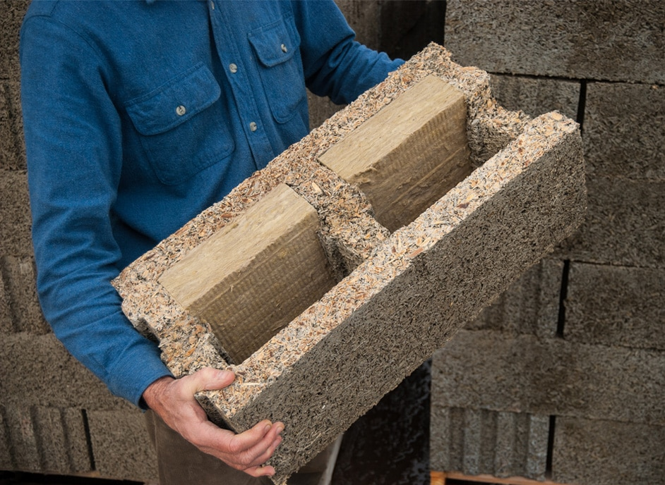 Build your natural, non-toxic home with this remarkable wood-chip concrete building block