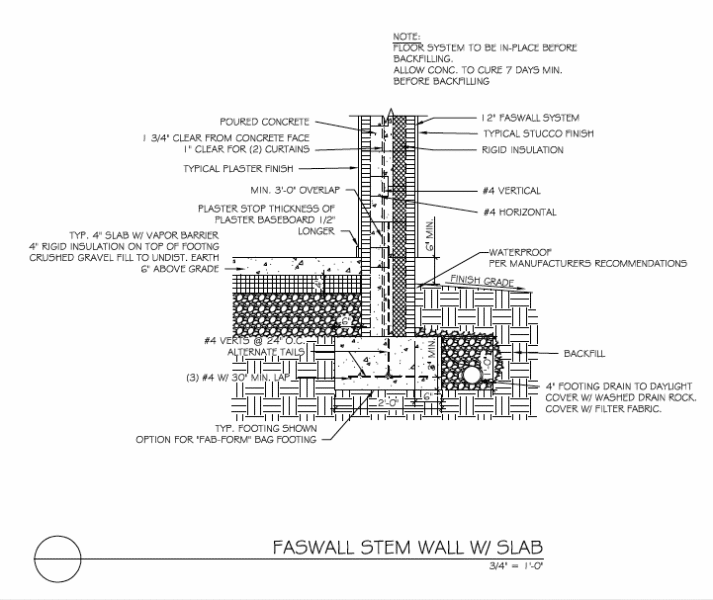 Faswall Insulated Stem wall with slab